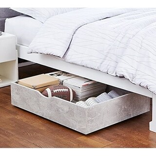 The Storage MAX - Underbed Wooden Organizer With Wheels - Marble Gray