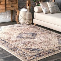 "nuLOOM Blue Tribal Historical Faded Border Area Rug - 7' 6"" x 9' 6"""