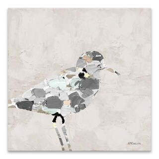 """""""Neutral Sandpiper I"""" Coated Embellished Canvas - 20W x 20H x 1.5D"""