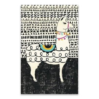 """""""Party Llama I"""" Premium Gallery Wrapped Printed Canvas - 18W x 28H x 1.5D"""