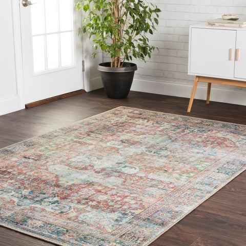 "Traditional Distressed Red/ Blue Printed Area Rug - 2'3"" x 3'9"""