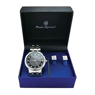 Casual and Sophisticated Silver Bling Metal Classy Timepiece with Elegant Pave Kite Design Earrings in Gift Box - black
