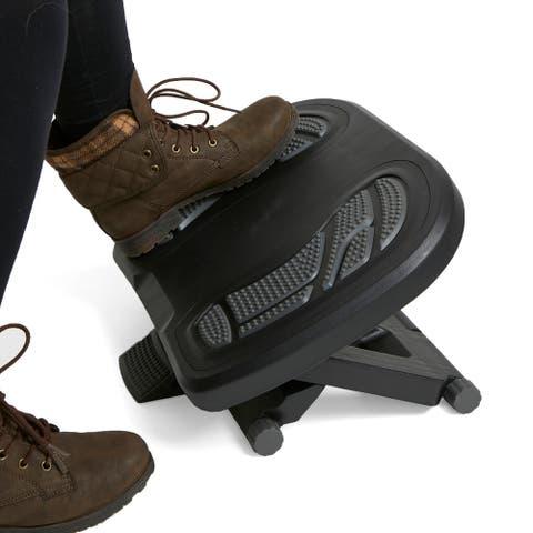 Mind Reader Adjustable Height Under Desk Non-Slip Ergonomic Foot Rest with Foot Prints, Gray
