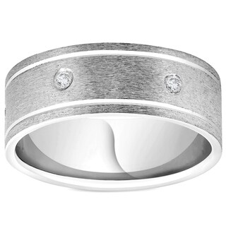 Bliss 950 Platinum 8MM Flat Brushed Diamond Mens Comfort Fit Wedding Band Ring - White