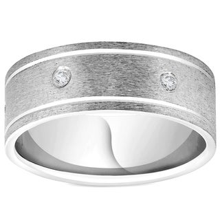 Bliss 950 Platinum 8MM Flat Brushed Diamond Mens Comfort Fit Wedding Band  Ring   White