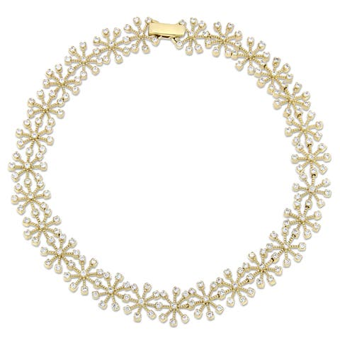 Miadora Signature Collection 14k Yellow Gold 1 1/3ct TDW Diamond Floral Link Bracelet