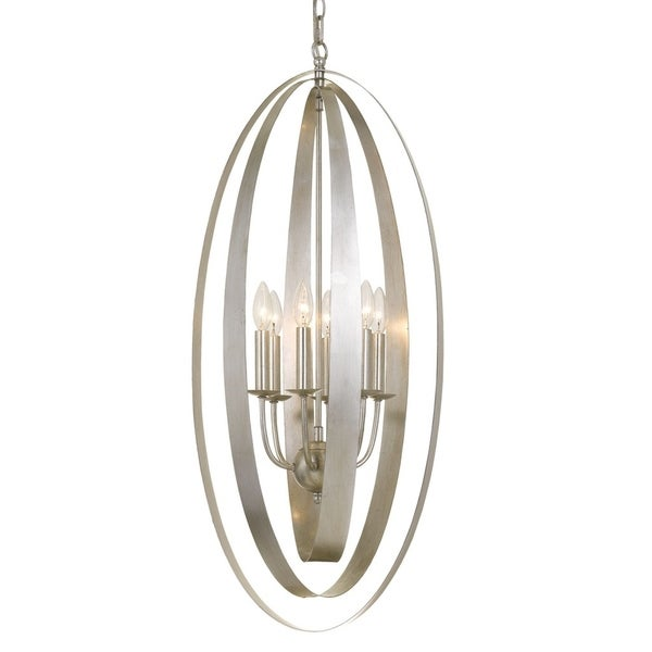 Crystorama Luna Collection 6-light Antique Silver Pendant