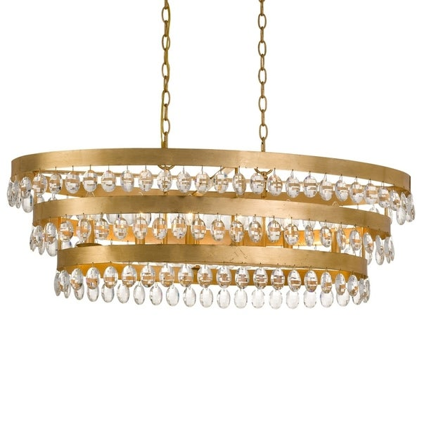 Crystorama Perla Collection 6-light Antique Gold Linear Chandelier