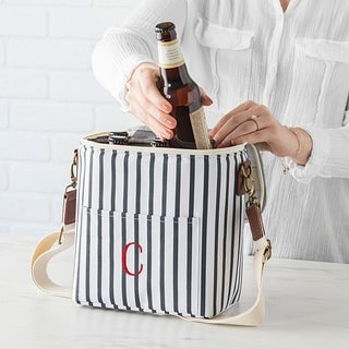Personalized Striped Bottle Cooler