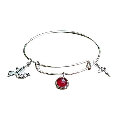 Handmade Recycled Reclaimed Antique Glass Stainless Steel Adjustable Faith Bangle (United States)