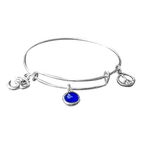 Handmade Recycled Reclaimed Antique Glass Stainless Steel Adjustable Peace Bangle (United States)