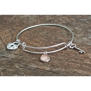 Handmade Recycled Reclaimed Antique Glass Stainless Steel Adjustable Love Bangle (United States)