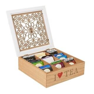 Mind Reader Tea Box Storage Holder with Wood Floral Pattern, Brown