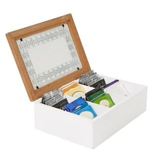 Mind Reader Tea Box Storage Holder with Glass Window Wood Pattern, Brown