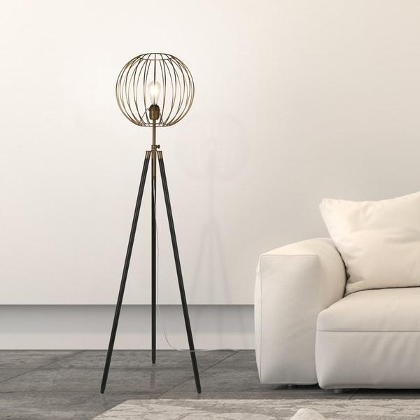 Shop Parry Industrial Metal Tripod Floor Lamp In Antique Brass