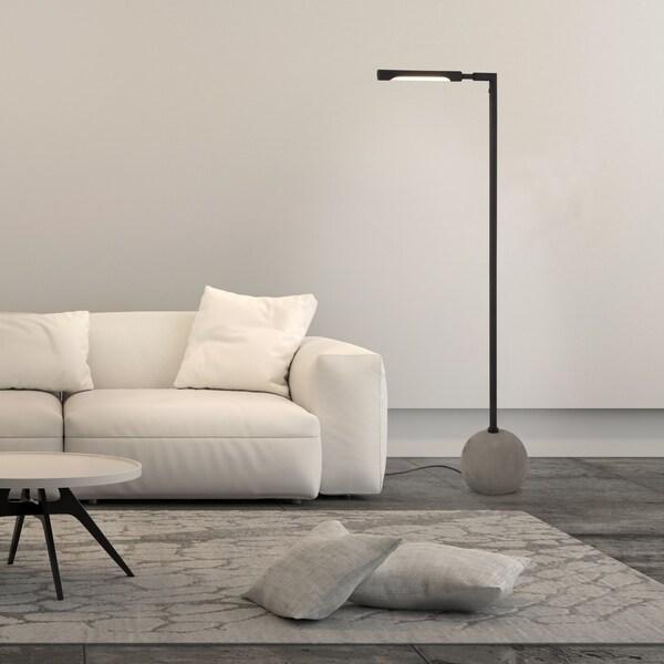 Dina floor lamp in concrete and blackened bronze