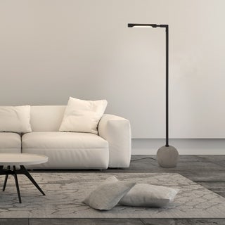 Dina Industrial Modern Floor Lamp in Concrete and Blackened Bronze