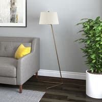 Marcus Golden Brass Metal Floor Lamp with Linen Shade
