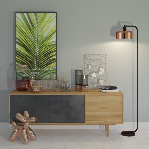 Cartwright Industrial Metal Reading Floor Lamp with Polished Copper Shade