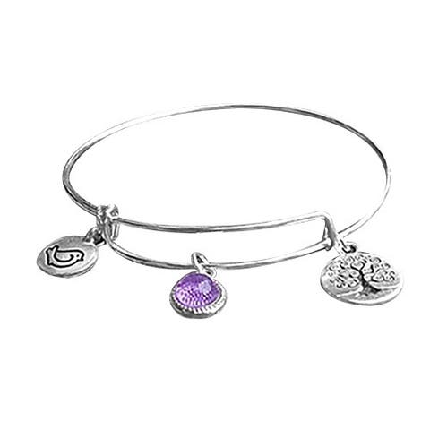Handmade Recycled Reclaimed Antique Glass Stainless Steel Adjustable Tree of Life Bangle (United States)