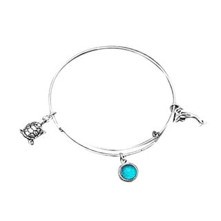 Recycled Antique Glass Stainless Steel Adjustable Sea Life Bangle