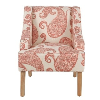 Clay Alder Home Alderson Swoop Arm Cream/ Red Paisley Accent Chair