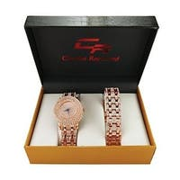 The Rocks in this watch make you a RockStar!! Bling Bling Iced Out Rose Gold Ladies Watch with Matching Iced Out Bracelet