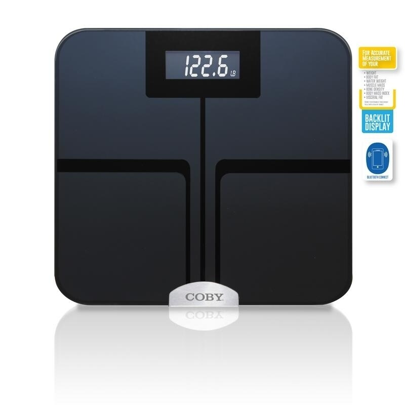 Coby Bluetooth Digital Glass Full Body Analysis Bathroom Scale Overstock 20861747