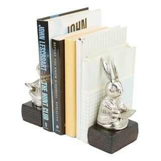 Mind Reader Heavy Duty Non-Skid Aluminum Rabbit Reading Book Bookends, Book Stands, Book Holder, Silver
