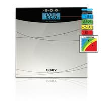 Coby Digital Glass Bathroom Scale with BMI Calculator Color Display