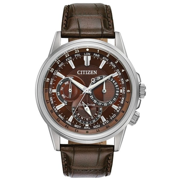 Citizen Men's Eco-Drive Leather Watch with Day/Date