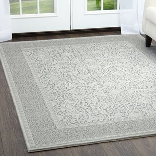 "Minerva Classic Gray & Dark Gray Area Rug by Home Dynamix - 6'6""x9'5"""