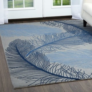 """Minerva Tropical Palm Gray & Blue Area Rug by Home Dynamix - 31""""x50"""""""