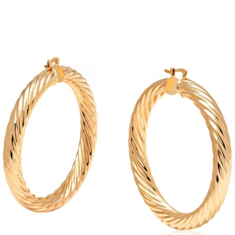 Gold 60mm Hollow Hoop Earrings