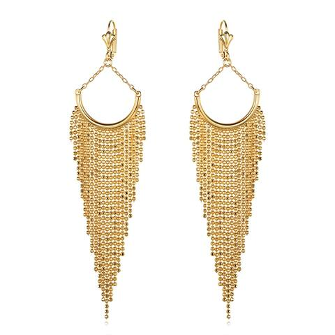 18k Gold Overlay Semi-Circle Earrings with Long Beaded Chandelier Drop