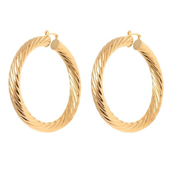 Gold Plated 70mm Twisted Hollow Hoop Earrings
