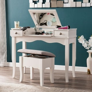 Harper Blvd Eliza Soft Ivory with Gray Vanity/ Bench Set