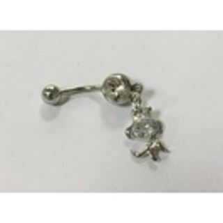 Steeltime Ladies Surgical Stainless Steel Cubic Zirconia Belly Ring with Dog Charm