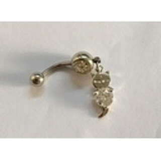 Steeltime Ladies Surgical Stainless Steel Cubic Zirconia Belly Ring with Cat Charm