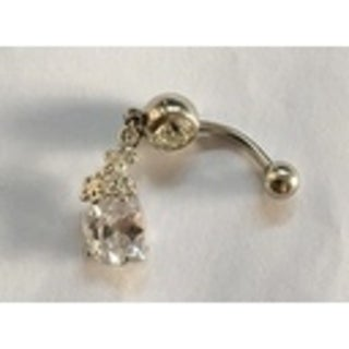 Steeltime Ladies Surgical Stainless Steel Cubic Zirconia Belly Ring with Flower Cluster Charm