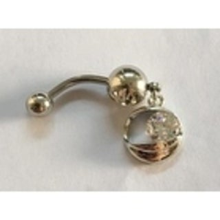 Steeltime Ladies Surgical Stainless Steel Cubic Zirconia Belly Ring with Eye Charm