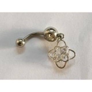 Steeltime Ladies Surgical Stainless Steel Cubic Zirconia Belly Ring with Double Flower Charm