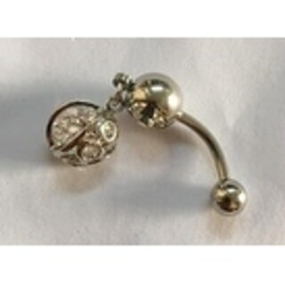 Steeltime Ladies Surgical Stainless Steel Cubic Zirconia Belly Ring with Bubble Charm