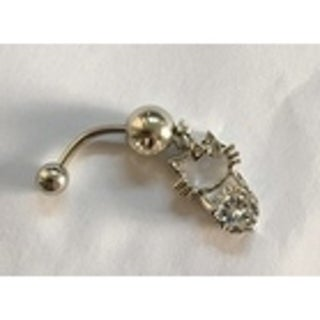 Steeltime Ladies Surgical Stainless Steel Cubic Zirconia Belly Ring with Cat with Bow Charm
