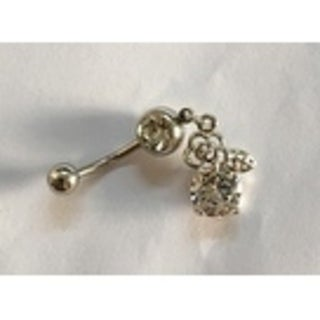 Steeltime Ladies Surgical Stainless Steel Cubic Zirconia Belly Ring with Flower and Leaf Charm
