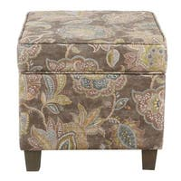 HomePop Square Ottoman with Lift Off Top - Gray Floral