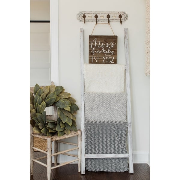 Shop White Wash 48in Decorative Ladder Free Shipping