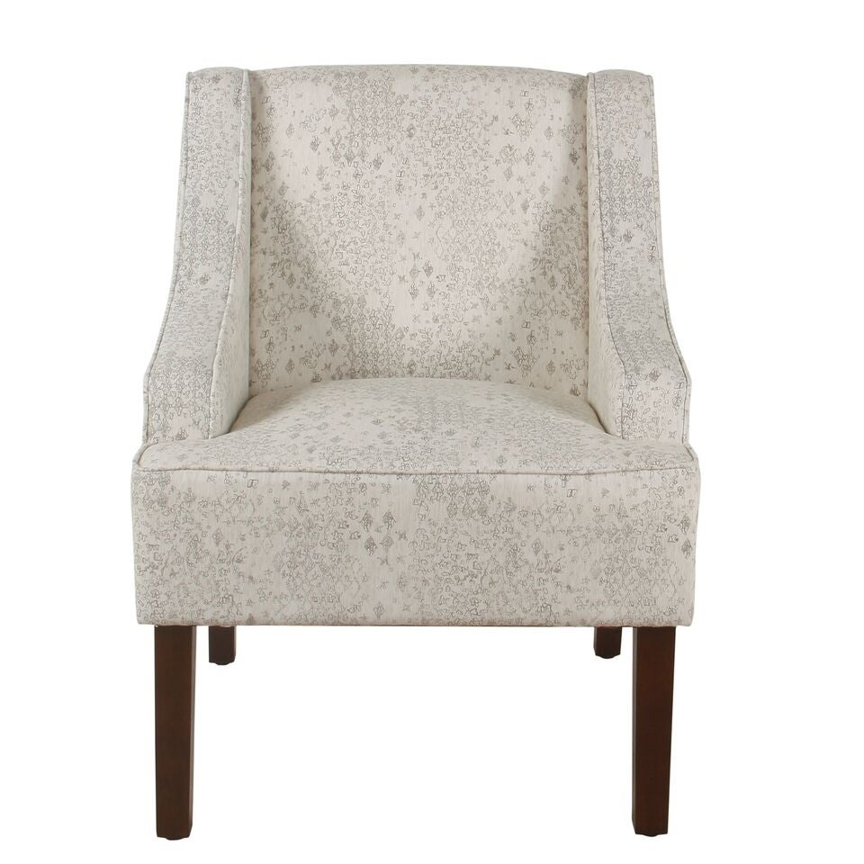 Shop homepop classic swoop arm accent chair cream and gray vintage stencil free shipping on orders over 45 overstock com 20862450