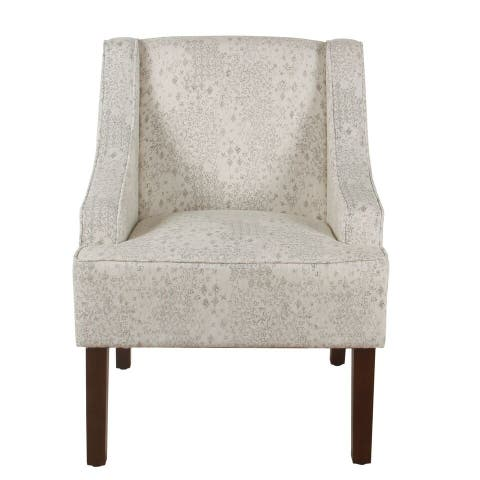 Porch & Den Lyric Swoop Arm Cream/ Gray Vintage Stencil Accent Chair