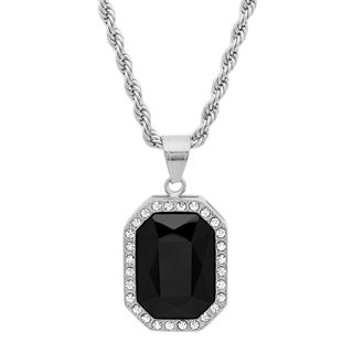 Piatella Ladies Stainless Steel Cubic Zirconia and Black Onyx Pendant in 2 Colors